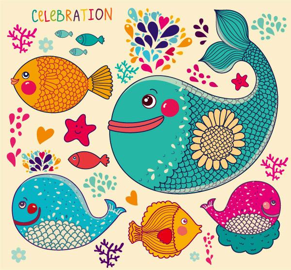 卡通海洋鱼类_矢量卡通动物