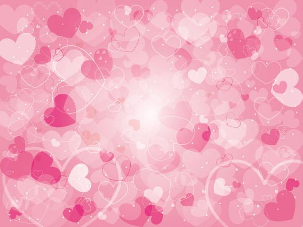 粉色心形背景,梦幻心形光晕
