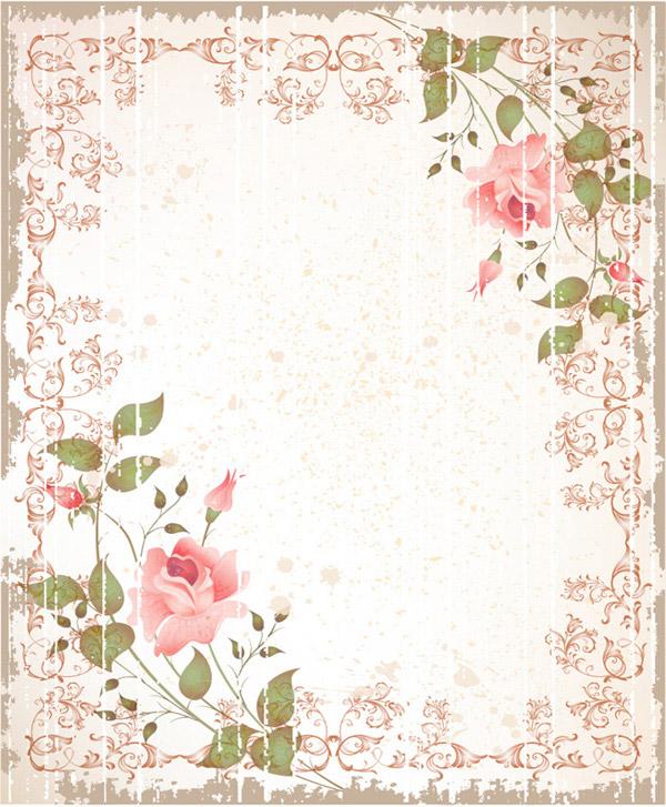 复古颓废玫瑰花边框背景矢量素材