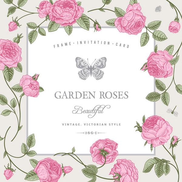 复古玫瑰装饰边框矢量素材