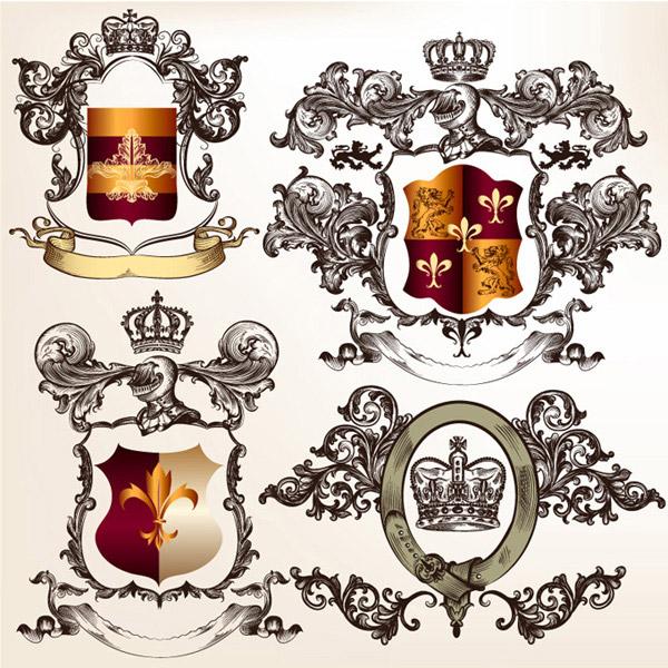 复古皇家徽章边框矢量素材