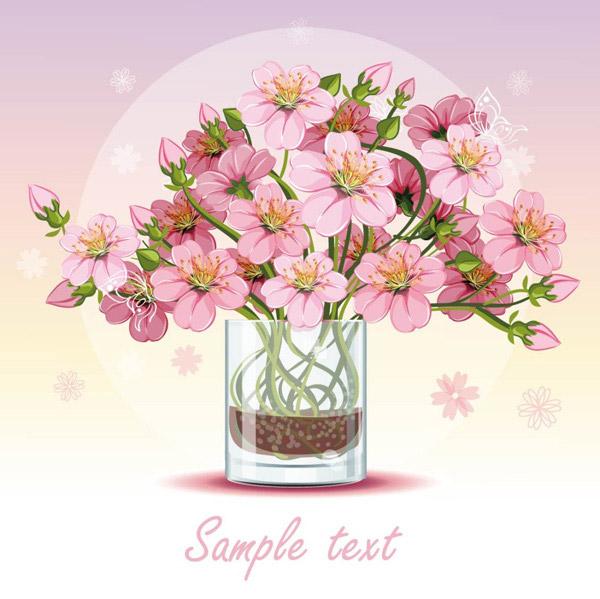 花瓶里的花_矢量花草树木