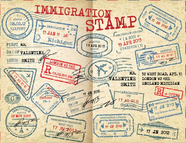 国外出入境印章