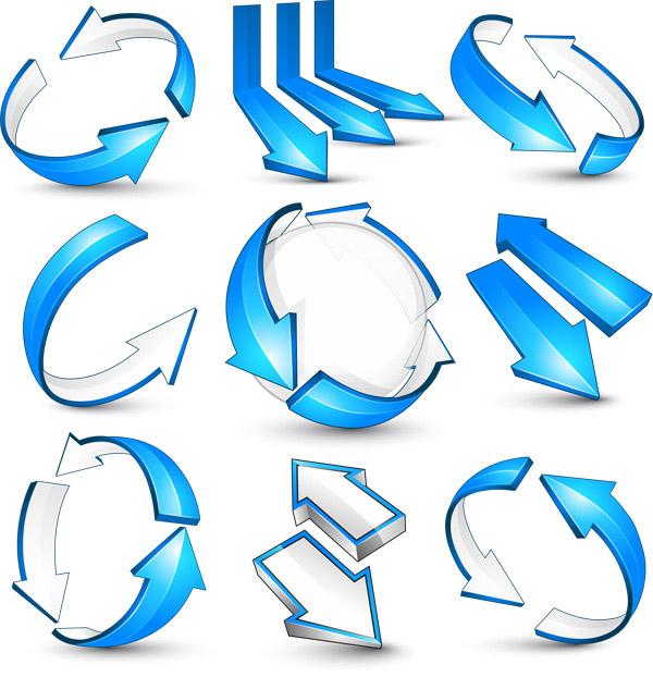 素材分类: 矢量箭头图形所需点数: 0 点 关键词: 蓝色立体3d箭头矢量