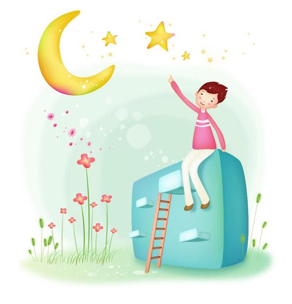 素材分类: 矢量卡通角色所需点数: 0 点 关键词: 数星星的孩子免费