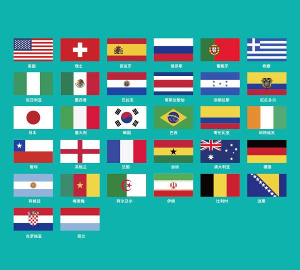 世界杯32强国旗