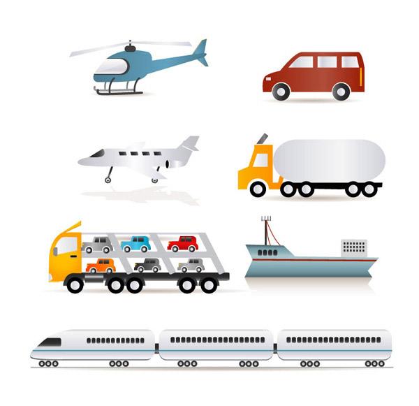 0 点 关键词: 7款交通运输工具矢量素材,轿车,飞机,货车,轮船,直升