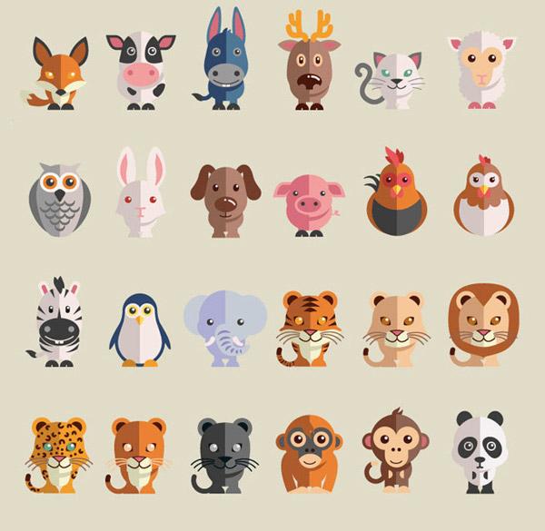 扁平化动物矢量图片