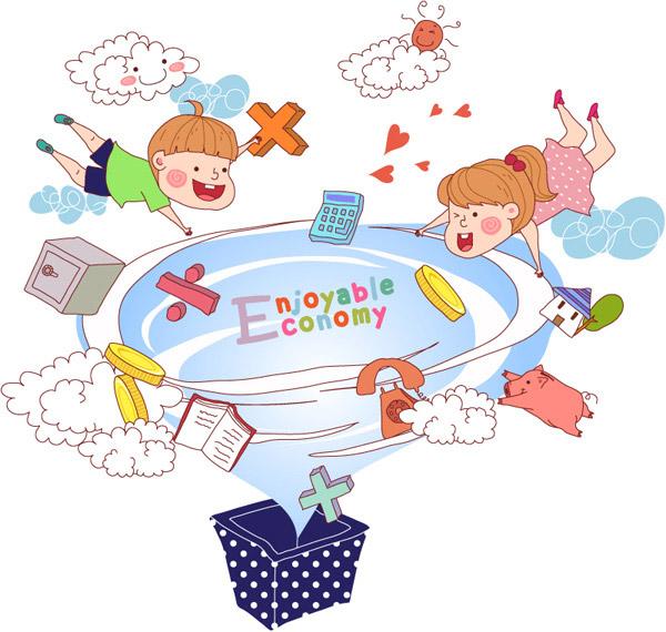 彩绘,云朵,太阳,爱心,箱子,电话,金币,存钱罐,猪,儿童,旋风,矢量图