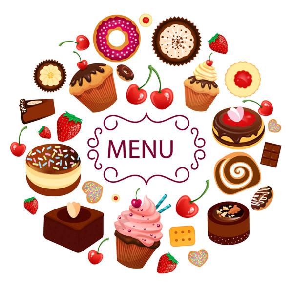 Cartoon vector material greatly entire dessert menu, strawberry, fruit ...