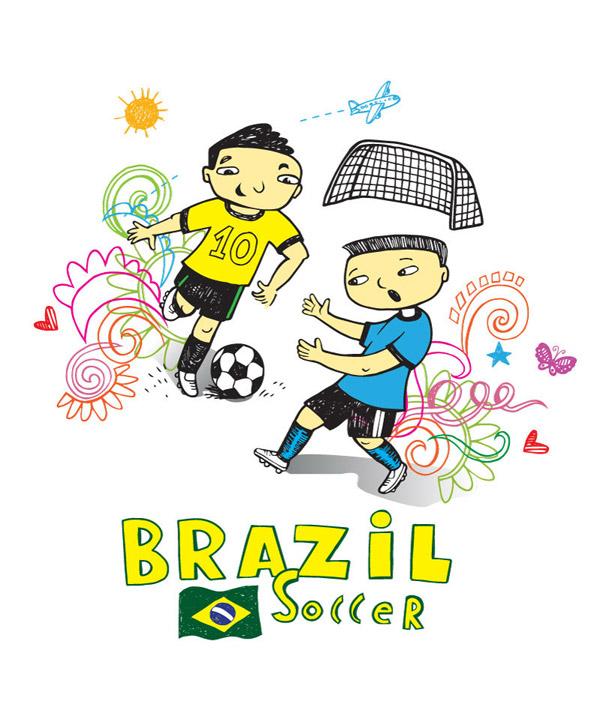 手绘足球运动