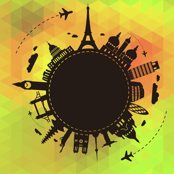 矢量设计元素所需点数: 0 点 关键词: 环球旅行剪影背景矢量素材