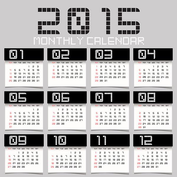 2015黑白个性日历图片