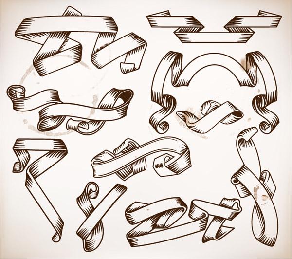 复古手绘丝带设计_素材中国sccnn.com