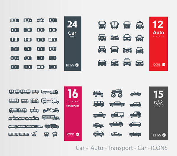 57款车辆图标设计矢量素材,轿车,汽车,越野车,客车,运输车,图标,吊车