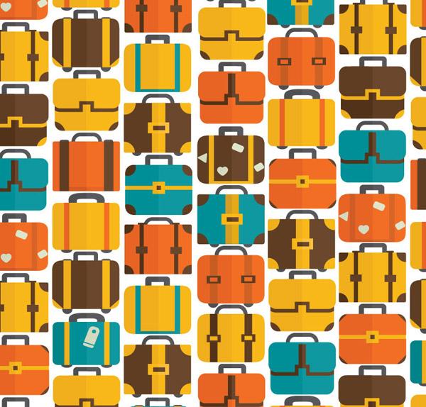 缤纷旅行箱背景矢量素材,旅行箱插画,旅游背景,行李箱,矢量图,ai格式