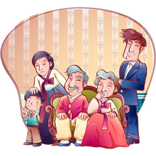 传统韩国一家人