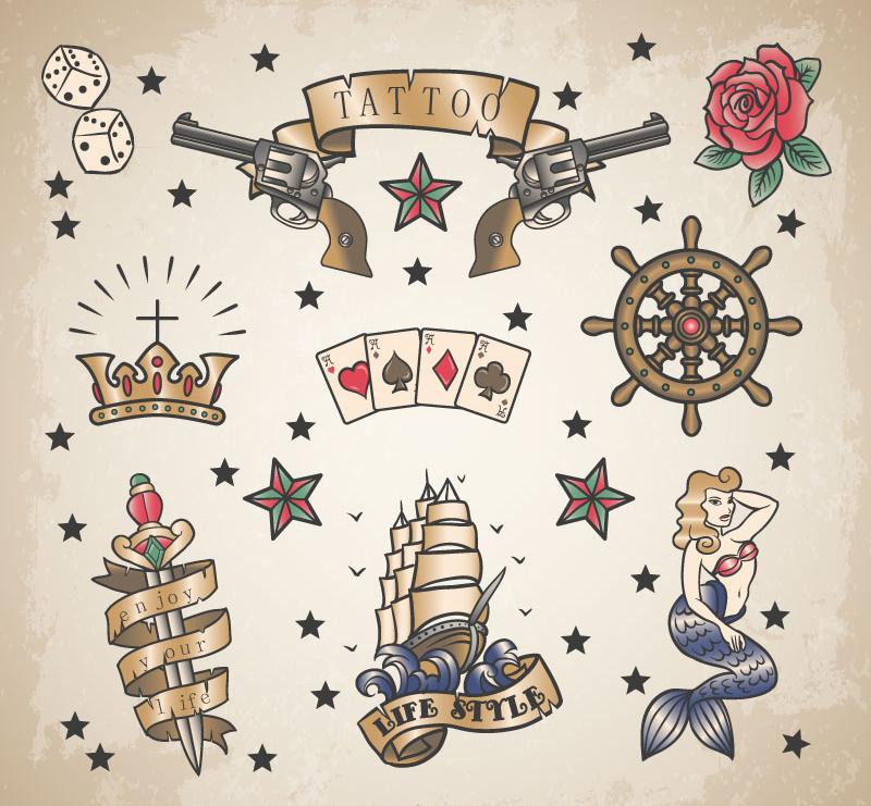 纹身图案设计矢量素材,纹身,花纹,色子,左轮枪,玫瑰花,美人鱼,扑克牌