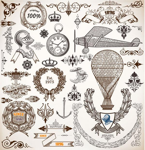 欧式复古元素设计矢量素材,花边,装饰物,复古,欧式,花纹,盔甲,怀表