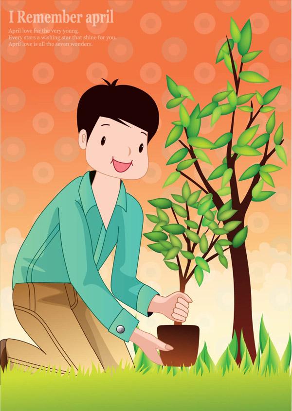 种树的男生图片