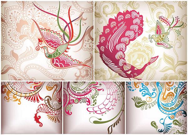 0 点 关键词: 精美中国风凤凰图案,矢量素材,凤凰花纹背景,矢量凤凰