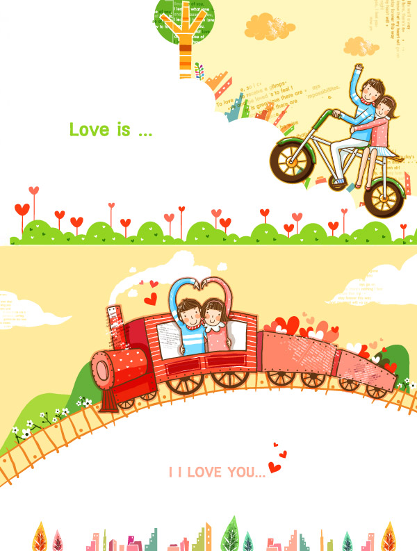 表白,love,you,爱情,旅行矢量素材,旅行模板下载,甜蜜之旅,小火车,i