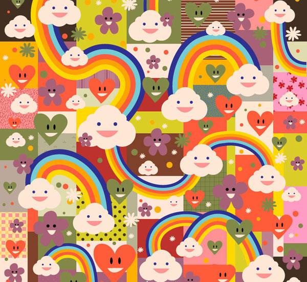 彩虹袜钩针图解