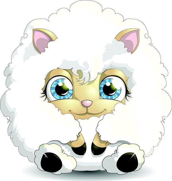 美丽可爱的卡通小羊设计矢量素材,洁白的小羊羊,卡通羊,矢量羊,动物