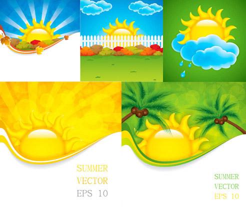 卡通太阳云朵矢量