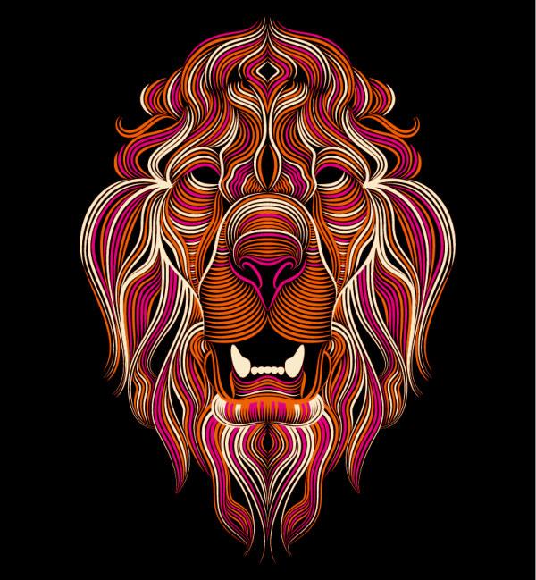 手绘线条卡通狮子