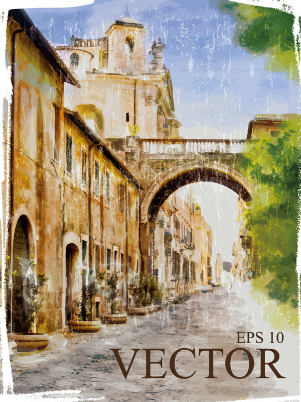 关键词: 复古城市水彩画矢量素材,城市,教堂,水彩画,建筑,树木,欧式