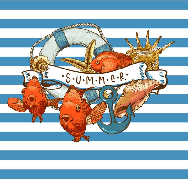 复古夏季海洋插画矢量素材,条纹,海洋,鱼,救生圈,丝带,海螺,船锚