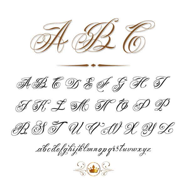手写花体英文字母设计矢量素材