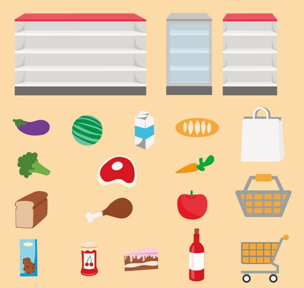 超市,货架,蔬菜,水果,食物,购物袋,购物车,牛奶,面包,苹果,胡萝卜