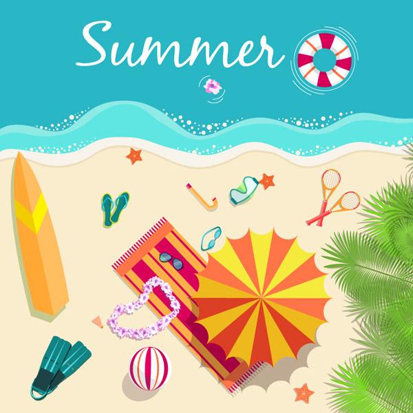 清新夏日沙滩插画矢量素材,夏季,海边,沙滩,度假,救生圈,遮阳伞,太阳
