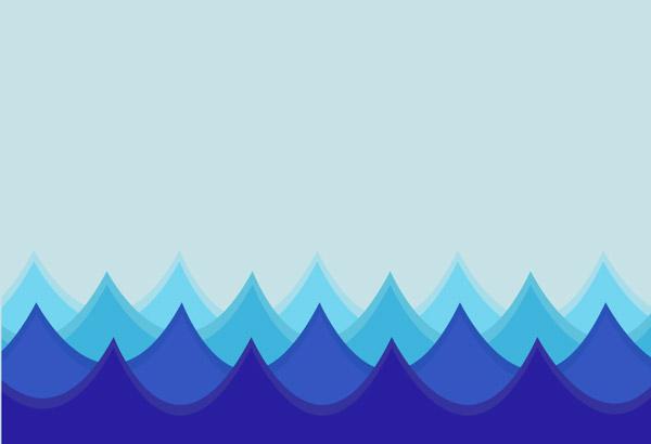 卡通蓝色海浪背景矢量素材