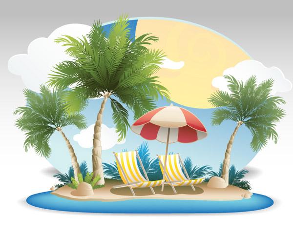 沙滩植物手绘图