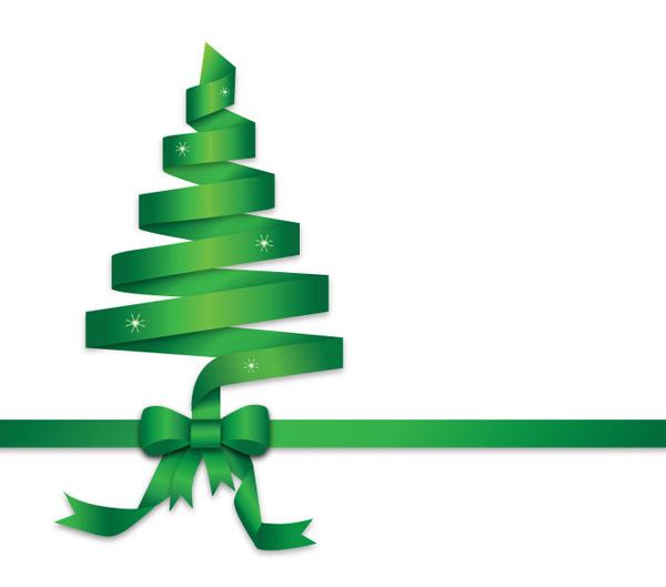 绿丝带圣诞树矢量插图免费下载,绿丝带,圣诞剪贴画,圣诞图形,带圣诞树