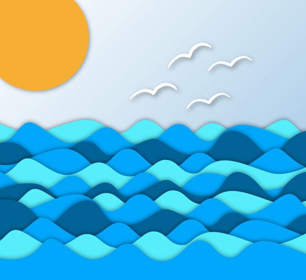 0 点 关键词: 精致海洋背景矢量素材,大海,海鸥,剪纸,太阳,海洋,海浪