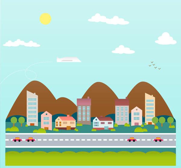 点 关键词: 卡通公路城镇背景矢量素材,山,城市,公路,太阳,汽车,飞机