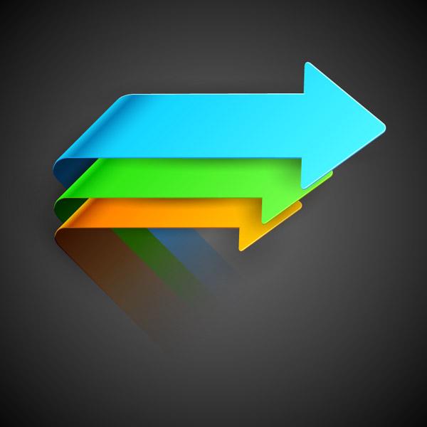 素材分类: 矢量箭头图形所需点数: 0 点 关键词: 彩色折纸箭头设计