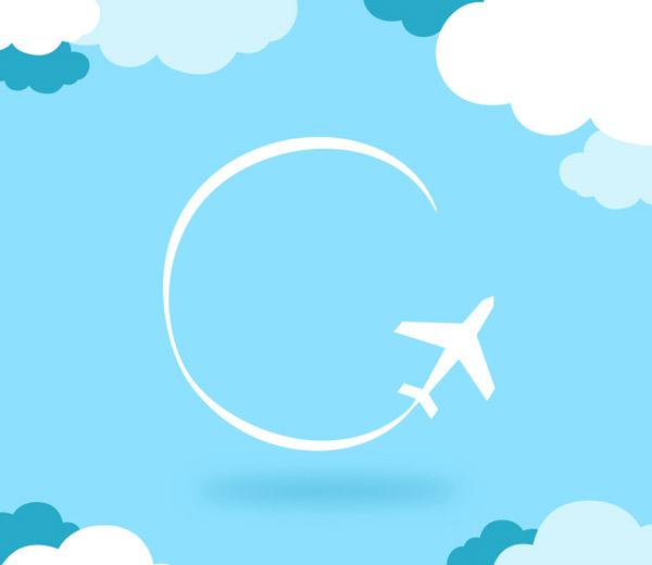 简洁白色飞机背景矢量素材,飞机,圆弧,云朵,飞行,背景,矢量图,AI格式