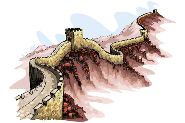 关键词: 手绘万里长城插画矢量素材,长城插画,万里长城,矢量长城,卡通图片