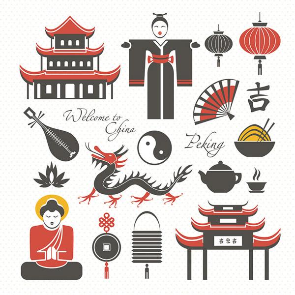 矢量设计元素所需点数: 0 点 关键词: 可爱的中国元素图标素材,中式图片