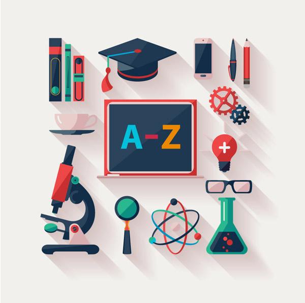 0 点 关键词: 教育元素图标设计矢量素材,博士帽,书本,显微镜,放大镜