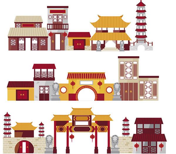 卡通中国传统建筑_素材中国sccnn.com