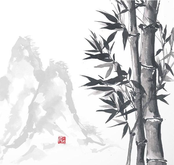 0 点 关键词: 中国风元素绘画素材,翠竹绘画,油墨画,高峰,山水,墨竹
