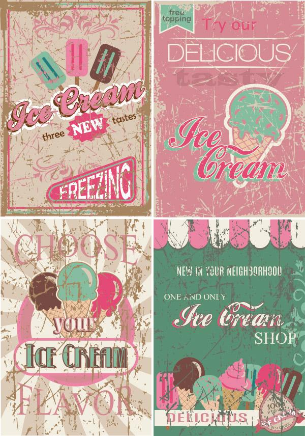 复古冰淇淋海报