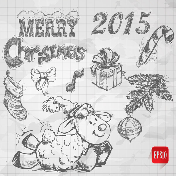 手绘,铅笔画,圣诞袜,槲寄生,绵羊,蝴蝶结,礼盒,2015年,圣诞节,merry