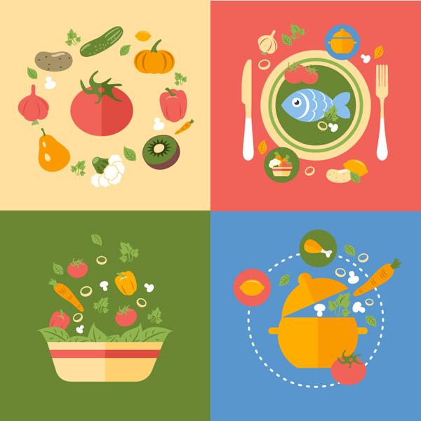 彩色美食背景矢量素材